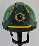 Antares Premium Custom Varnished Helmet #15 630 (green varnish, Brazil logo, size small)